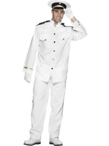 Kostüm Schiff Kapitän - Luxuspiraten - Herren Männer Schiffs-Kapitän Kostüm mit Jacke, Hose, Mütze und Handschuhe, perfekt für Karneval, Fasching und Fastnacht, L, Weiß
