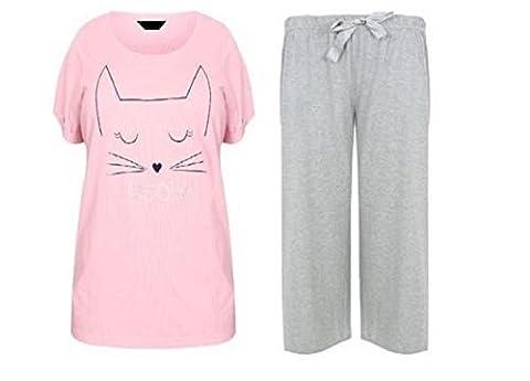 VACANCES VALISE DAMES grande taille 18-32 UK pyjamas ENSEMBLE ROSE GRIS MINOU CAT - Minou chat, EU 54/56