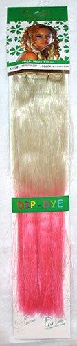 1st Lady® Fashion omber 45,7 cm droite avec pointes couleur fibre synthétique haute chaleur tête complète (8) Clip en Extensions de cheveux (Blond décoloré à Rose) # 613/rose clair 120 g