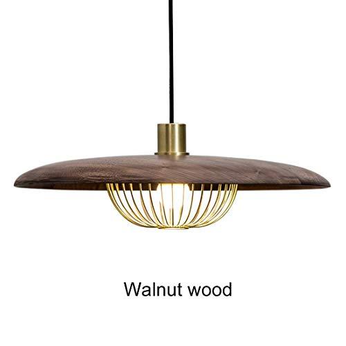 Lámpara colgante LED industrial vintage con lámpara de luz de jaula hueca E27 Socket I Sala de estar I Cocina I Restaurantes I Sótanos Lámpara de techo (color : Walnut Wood-45cm*14.5cm)