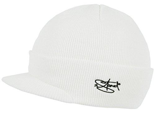 2Stoned Mütze mit Schirm Visor Beanie Cap Deluxe, One-Size Erwachsene Unisex, Weiß -