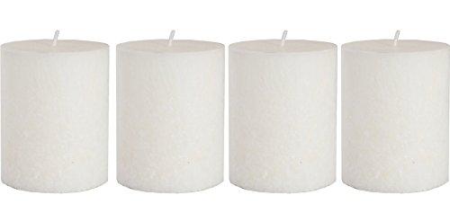 4 X Duft Stumpenkerzen - Pflanzenwachs kerze / bio kerze - Weiss 7,5 x 10 cm - 60 h Brenndauer - Duft Fresh Cotton - Besten Naturliche Stumpenkerzen mit Duft (Weiss, 7,5 x 10 cm)