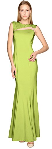 MACloth Sheath Jersey Simple Prom Dress Cut out Formal Party Evening Gown Olive Green