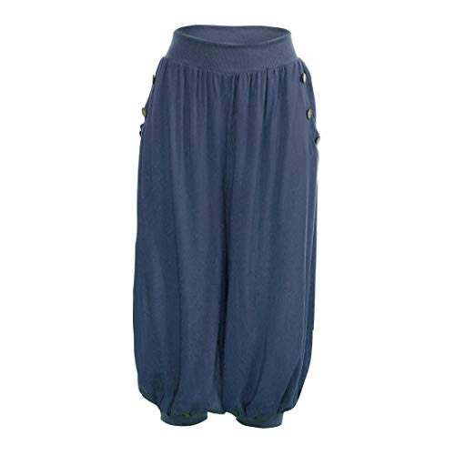 WWricotta Damen Capri Hose Pumphose Haremshose Pluderhose Ballonhose Baumwolle Leicht mit Tasche Freizeithose Weites Bein Palazzo Hose Yoga Hose
