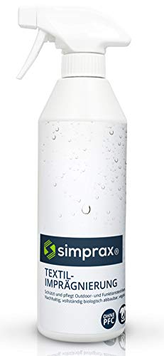 simprax® Textil Spray-On Imprägnierspray 500ml Imprägnierung Imprägniermittel Funktionstextilien Outdoortextilien Gore-Tex Sympatex Softshell