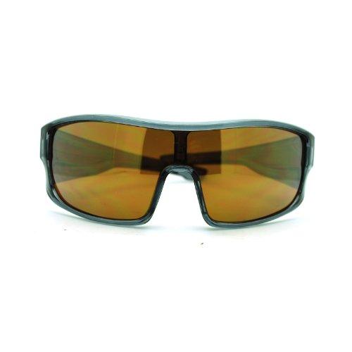 Herren Sport-Sonnenbrille Robotic Futuristic Mono Lens Shield Oversized, Grau (Grau/Braun), Einheitsgröße