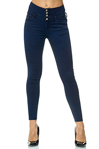 Elara Damen Stretch Hose | High Waist Jeans| Skinny | hoher Bund | Slim Fit | Chunkyrayan EGBK2083-1 Navy 42 - Stretch Hose Navy
