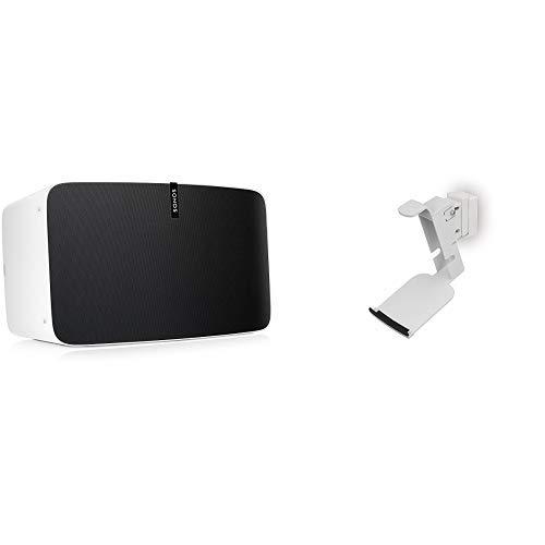 Sonos Play:5 WLAN Speaker, weiß - Kraftvoller WLAN Lautsprecher mit bestem, kristallklarem Stereo Sound & FLEXSON Wandhalterung für SONOS Play 5 (2nd Gen) weiß 30grad nach links und