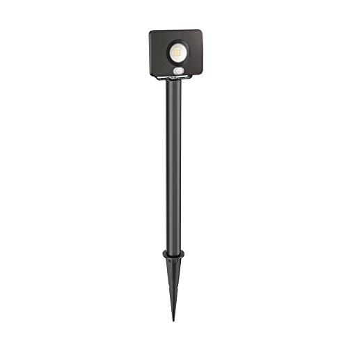 ledscom.de LED Gartenstrahler Wega mit Erdspieß und 40cm Sockel für außen mit Bewegungsmelder, schwarz, 10W, 650lm, warm-weiß