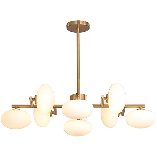 Nordic Light Metal Led Kronleuchter Moderne Esszimmer Glaskugel Pendelleuchte Wohnzimmer Leuchte Beleuchtung Suspension, Khaki 8 Köpfe -