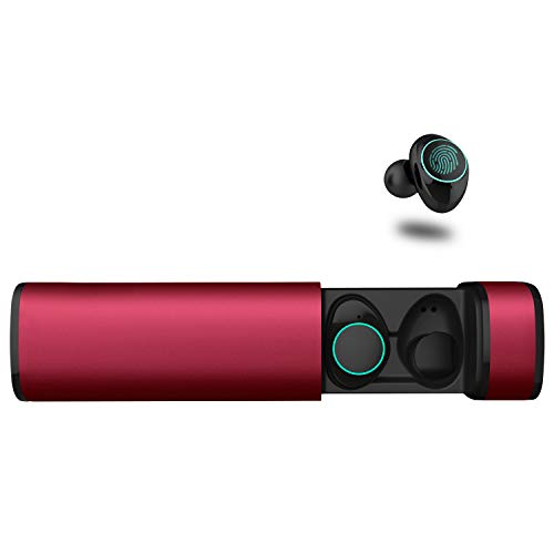Auriculares Bluetooth, Arbily Auriculares Inalámbricos Auriculares Manos Libres con Microfono y Cancelación de Ruido IPX5 Auriculares estéreo inalámbricos a prueba de agua para iPhone Samsung Sony con caja de carga (Rosa)