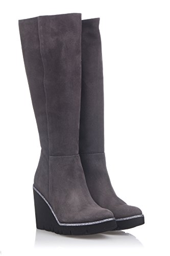 High Boot Below The Knee Wedge Keil Stiefel, Grau, 39 EU (Damen Grau Keil Stiefel)