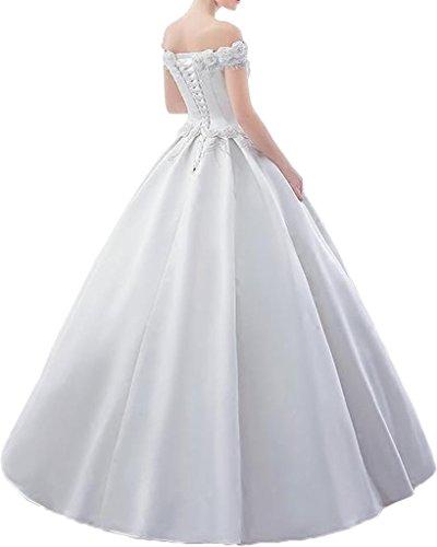 Promgirl House Damen Suess Blumen Prinzessin A-Linie Satin Ballkleider Abendkleider Hochzeitskleider Lang Gelb