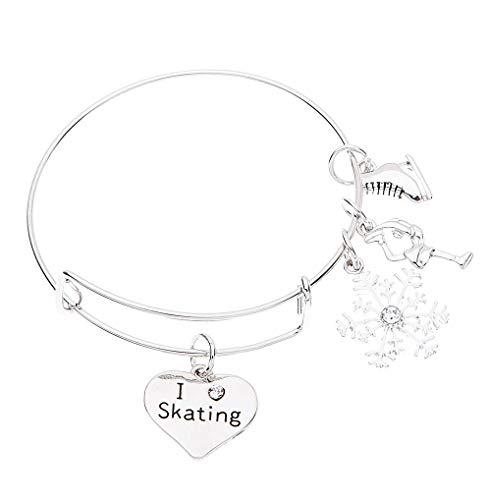 qws Skating Armband für Damen, Eiskunstlauf-Schmuck, Eislauf-Schmuck, Schlittschuh-Charm-Armband - perfektes Eislauf-Geschenk