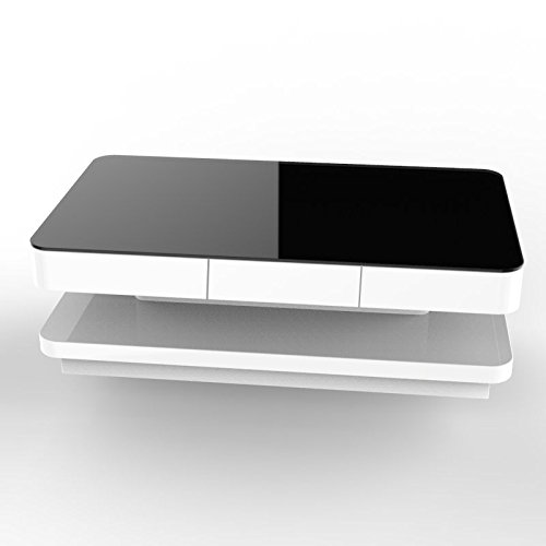 Coffee Table Layers White High Gloss Amazon Co Uk Kitchen: UEnjoy High Gloss White Coffee Table With Black Tempered