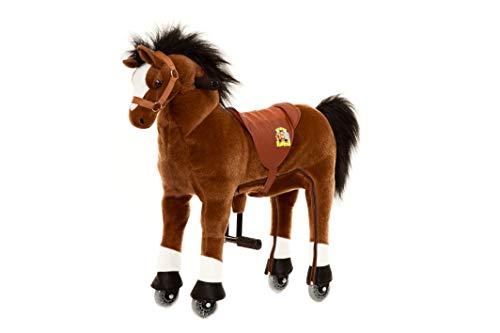 Animal Riding ARP002S Reitpferd Amadeus small (für Kinder ab 3 Jahren, Farbe braun, Sattelhöhe 49 cm, mit Rollen), S