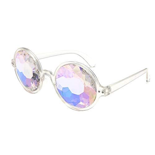 VRTUR Kaleidoskop Gläser Regenbogen Rave Wurmloch Prisma Diffraktion Brille Rave Festival Party EDM Sonnenbrille Linse Glasses (One size,Weiß)