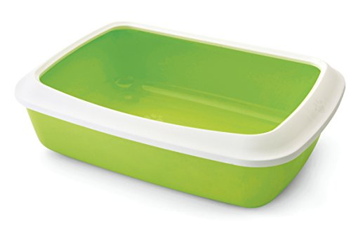 Savic Iriz Cat Litter Tray with Rim, Retro Lemon Green (17 inch)