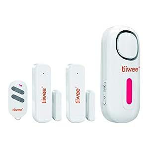 tiiwee Home Alarm System Starter Kit - Alarmanlage mit 2 Fenster oder Tuer Sensoren und 1 Fernbedienung - Erweiterbar - Alarmmodus oder Benachrichtigungsmodus