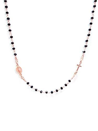 Rosario collana girocollo in argento 925 rosa con perline nere - croce e medaglietta madonna - linea italia gioielli made in italy