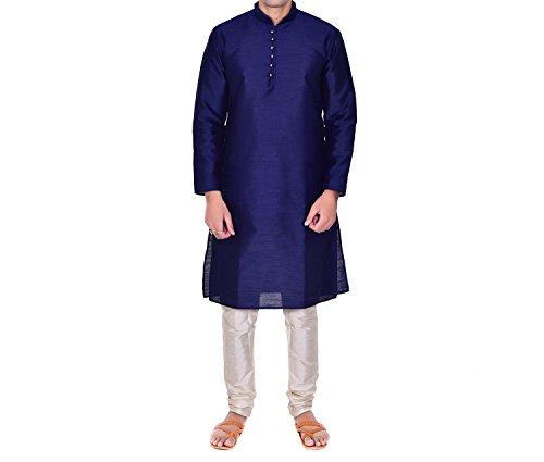 Ellegent Exports Men's Zic Zac Silk Kurta Pajama Royal Blue And White...