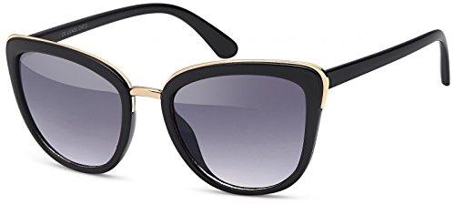 styleBREAKER Sonnenbrille in Katzenaugen Schmetterling Form mit Metall und Kunststoff Rahmen,Cat-Eye, Damen 09020078, Farbe:Gestell Schwarz-Gold/Glas Grau Verlauf
