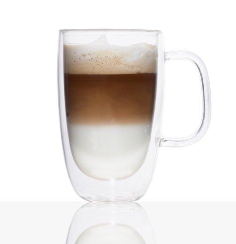 Double-Wall Glass Coffee Mug 325ml Set Of 2