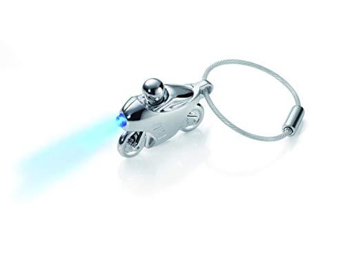 """TROIKA Schlüsselanhänger mit LED Licht ,,SPEED LIGHT\"""" - KR13-41/CH - Motorrad mit blauer LED - Schlüssellicht - Licht für jedes Schlüsselloch - glänzend, silber - das Original von TROIKA"""