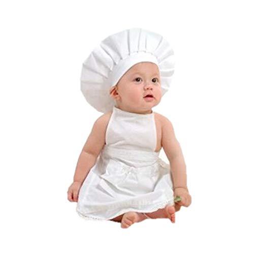 Kostüm Baby Koch - Jxth-ba Neugeborenen Fotografie Kostüm Jungen mädchen Baby Baumwolle koch koch Fotografie kostüm 2 stück Kleidung Outfit Set Kleinkind Baby Fotografie Prop (Farbe : Weiß, Größe : S)