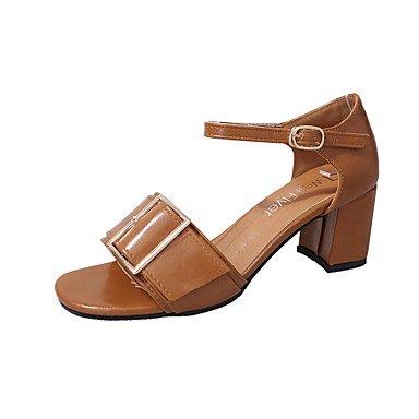 Sandales femmes à bride en T d'été extérieur en simili cuir boucle Talon occasionnels robe brun clair Beige Noir Blanc Walking Light Brown