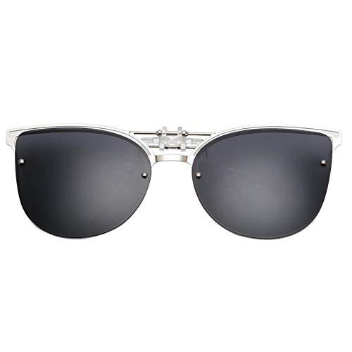 Sonnenbrille,Cat Eye Sonnenbrille Clip Auf Frauen Männer Polarisierte Spiegel Objektiv Uv 400 Sonnenbrille Clip Brillen Designer Für Das Fahren Schwarz