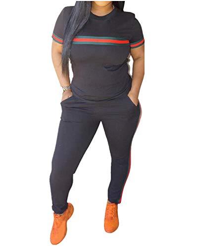 MINTLIMIT Trainingsanzug Damen 2 Stück Outfit Streifen Jogginganzug Frauen Tracksuit Top T-Shirt Lange Hose Beiläufig Sport Schwarz L