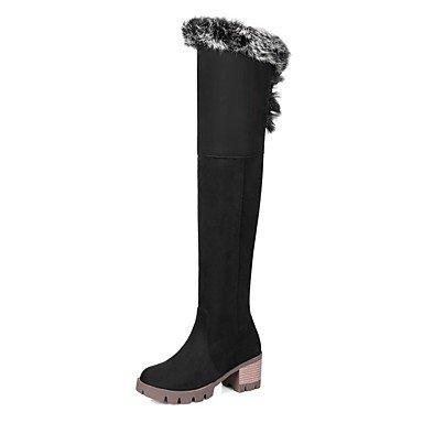 Rtry Femmes Chaussures Nubuck Cuir Hiver Mode Bottes Bottes Chunky Talon Bout Rond Cuisse-haute Bottes Pour Vêtements De Sport Noir Brun Us6.5-7 / Eu37 / Uk4.5-5 / Cn37