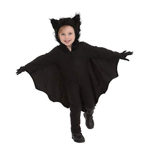 HUAM Disfraz de Halloween Niños Niñas Ropa de Rendimiento Bate de Navidad Cargando Ropa de Cosplay Carnaval Negro (Color : Negro, tamaño : Metro)