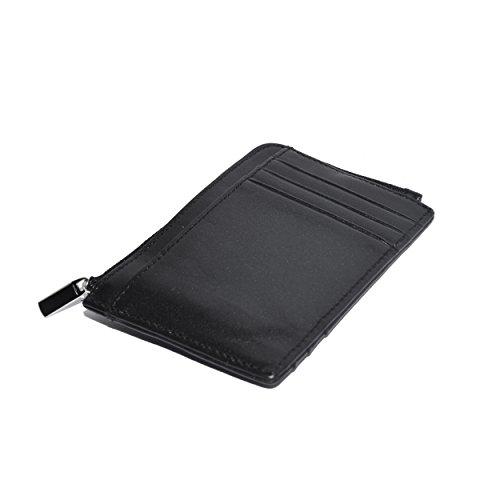 Element Finder (Kreditkartenetui mit Zuglasche von Nomalite | Schlanke Brieftasche für Herren, Damen mit RFID Blocker, 5 Kartenfächern, Geldklammer. Minimalistische geldbörse : schwarz, Leder, Leicht slim Wallet. )