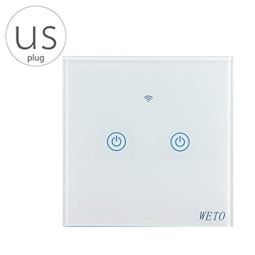 Uzinb Ersatz für Google-Startseite WiFi-Wand-Schalter 2 Gang drahtlosen Hellen Relay App Touch Control WiFi Smart Switch US-Stecker -