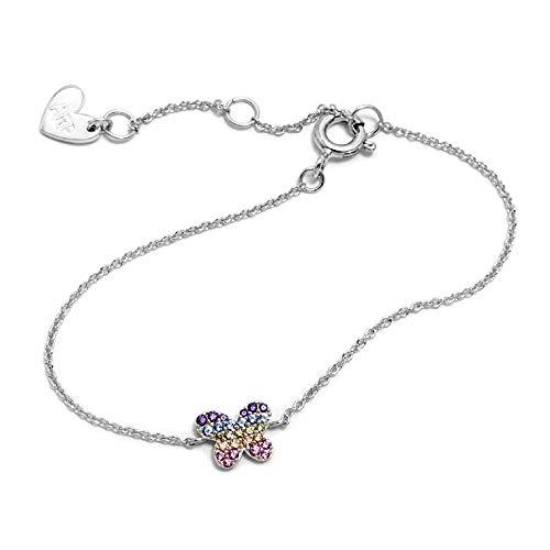 Silber Armband 925m Act Agatha Ruiz De La Prada 14cm. Schmetterlings-Regenbogen-Farben-Sammlung
