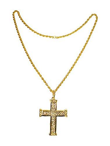Faschingsfete Kostüm Kette - Kreuz aus Metall, Gold