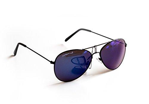 Piloten-Brille Sonnen-Brille Flieger-Brille Schwarz Blau Getönt UV-Schutz 400 ca. 14 cm Breit Herren Damen Unisex Cosplay Trend-Brille Nerd-Brille Geek-Brille