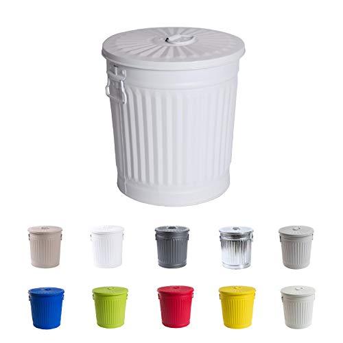 Cubo de basura Cubo de basura vintage Cubo de basura Cubo de basura Cubo de basura con asas Blanco mate Ø 21.5 cm, altura 21.5 cm