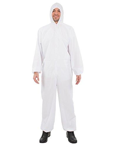 Adult Unisex White Hazmat Suit Chemical Forensic Fancy Dress Costume