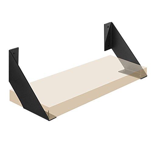 Par de soportes de estante de hierro en ángulo plano curvado, negro,...