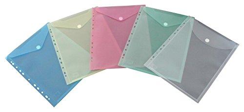 EXXO by HFP 35400 Prospekthülle mit Klappe und Abheftrand, 10 Stück, farbig sortiert
