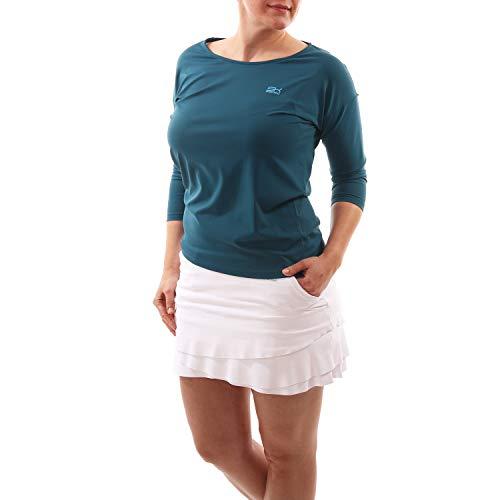Sportkind Mädchen & Damen Tennis, Fitness, Sport 3/4 Loose Fit Shirt, Petrol grün, Gr. XXXL -