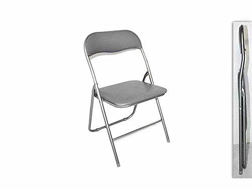 Sedia pieghevole imbottita struttura in metallo per casa e campeggio sedie grigio