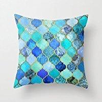 B Lyster Shop g025j Kobalt Blau, Aqua, Gold dekorative Marokkanische Fliesen Kissenbezüge Home Dekoration Kissenbezug 18x 18