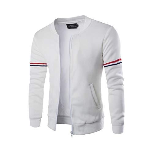 Herbst Herren Jacke TIFY Ribbon Mantel Streetwear Winter Sport Jacke Draussen Zipper Sportswear Tunika Sweat Pullover(Weiß,L)