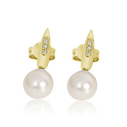 ❤️ Mille Amori Damen Ohrringe – 9 Karat (375) Gelbgold – Diamanten 0.04 Karat – Perlen 7.0 mm