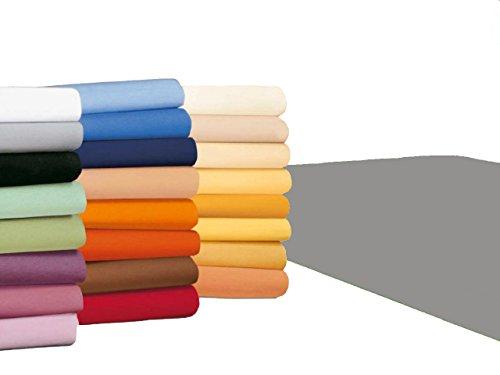 badtex24 Spannbettlaken 90 100 x 200 Spannbetttuch Bettlaken Jersey 100% Baumwolle 20 Farben Grau 90x190-100x200cm