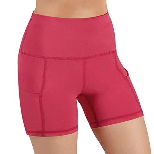 YCQUE Frauen Laufhose Yogahose Sommer Täglich Damen Lässig Atmungsaktiv Schnell Trocknend Enganliegend Hohe Taille Taschentraining Laufen Yogahosen Sporthose Kurz